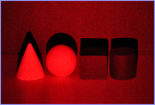 objects illuminated with red laser light image